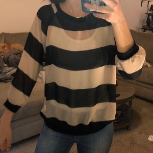 Sheer see through stripped top